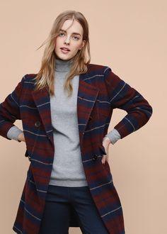 Check wool-blend coat   VIOLETA BY MANGO
