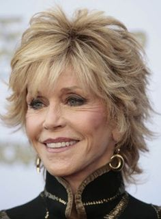 Jane Fonda Short Natrual Straight Layered Synthetic Hair Capless Wig 8 Inches