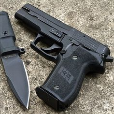 Sig Sauer P226 West German 9mm 15rd. Great side arm. Best feature is the thumb safety