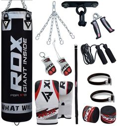RDX Punch Bag & Boxing Set made of durable & premium quality material. Buy Punch Bag & Boxing Set from the official online store in USA Heavy Punching Bag, Boxing Punching Bag, Muay Thai Training, Boxing Training, Kick Boxing, Muay Thai Martial Arts, Boxing Punches, Garage Gym, Boxing Gloves