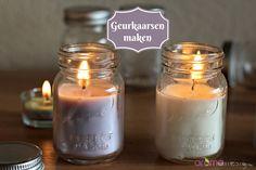 Geurkaarsen zelf maken, van koolzaadwas of sojawas Diy Candles, Candle Jars, Hacks Diy, Soap Making, Good To Know, Beauty Hacks, Essential Oils, Workshop, Diys