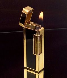 DUNHILL ROLLAGAS LIGHTER Gold Plated Black by STUNNINGCOLLECTIBLES