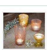 vintage-style candle holders, bottles, mercury glass at lunabazaar