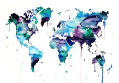 Hey, I found this really awesome Etsy listing at https://www.etsy.com/listing/242955155/world-map-watercolor-painting-blue-home