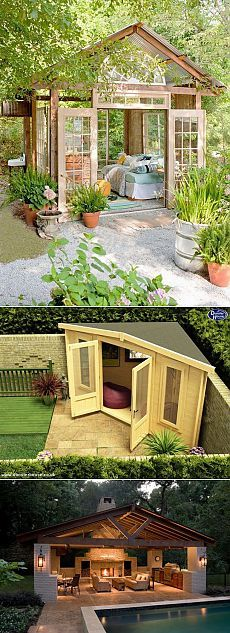 Super backyard shed siding ideas Diy Gazebo, Backyard Gazebo, Backyard Sheds, Small Outdoor Patios, Outdoor Living, Small Covered Patio, Inexpensive Patio, Patio Fence, Outside Room