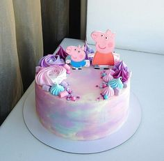 Peppa Pig Birthday Cake, Truck Birthday Cakes, Mickey Mouse Birthday Cake, Birthday Cake Girls, 3rd Birthday, Pig Cupcakes, Cupcake Cakes, Fete Emma, Fiesta Cake