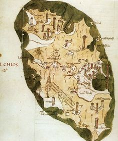Chios, Medieval, Vintage World Maps, Mid Century, Middle Ages