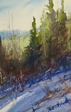 A Sunny Slope by Sandy Strohschein Watercolor ~ 18 x 12