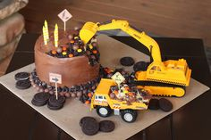 Levi is A Construction Birthday Party Digger Birthday Cake, 3 Year Old Birthday Cake, Tractor Birthday Cakes, 4th Birthday Cakes, Birthday Ideas, Bithday Cake, Construction Birthday Parties, Birthdays, Baby