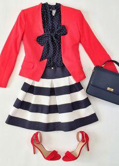 red blazer, red heels, striped skirt