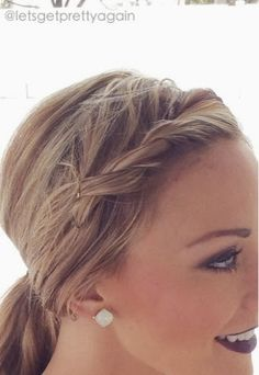 A few years ago I was playing around with the front pieces of my hair and came up with a cute way to french twist my bangs back! - September 08 2019 at Prom Hairstyles For Long Hair, Short Hair Updo, 2015 Hairstyles, Different Hairstyles, Elegant Hairstyles, Twist Hairstyles, Hairstyles With Bangs, Short Hair Twist Styles, Hair Up Styles
