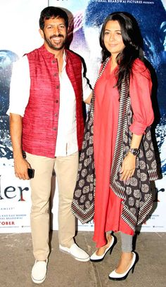 Kabir Khan with wife Mini Mathur at the screening of 'Haider'. #Bollywood #Fashion #Style #Beauty