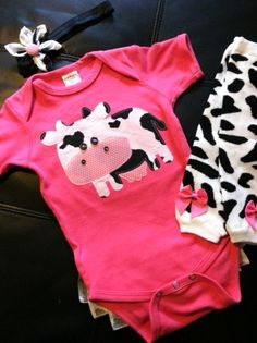 Connie the Cow Rufflebum outfit by SewSimplySweetShop on Etsy, $35.00