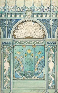 Émile Hurtré,Architectural Project: Design for a wall decoration with…