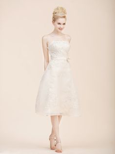 Strapless A Line Organza Little White Dress with Beading