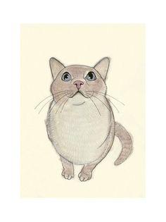 "Cat Art print -  4 for 3 SALE I heart birds - 4"" X 6"". $7.00, via Etsy."