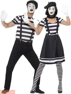 Adults Mime Artist Fancy Dress Mens Ladies French Circus Costume Street Outfit…
