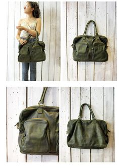 TASC bag 6 -Handmade Italian Green Leather Messenger Bag di LaSellerieLimited su…