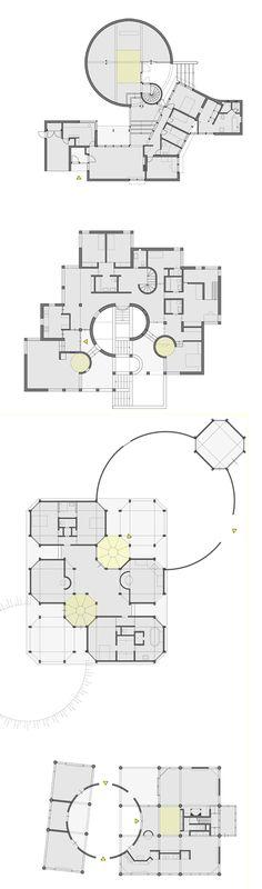 Círculos de Aldo Van Eyck -Extensión de la Casa Visser, 1967 -Casa de R. Van Eyck, Saint Paul de Vence, 1968 (no construida) -Casa de C,-J. Visser, Retie, 1975 -Casa de Jong, Bergen, 1976 (no construida)