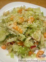 Фото к рецепту: Овощной салат с яблоком и кунжутом