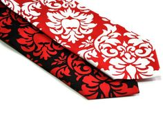 Red and Black Damask Neckties for Your Wedding by MeandMatilda, $22.95