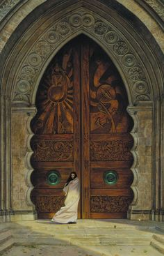"""The Doors of Obernewtyn"" by Donato Giancola (One of my all time favorite works of fantasy art. Donato is an amazing talent! Cool Doors, The Doors, Unique Doors, Windows And Doors, Front Doors, Arched Doors, When One Door Closes, Door Gate, Grand Entrance"