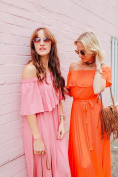 2 Ways to Colour Block - Belle & Bunty Blog  colour, pink, orange, maxi dress, fashion bloggers, London, street style