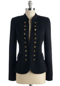 ModCloth Military Mid-length Long Sleeve I Glam Hardly Believe It Blazer in Black