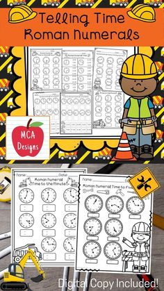 This product includes various no-prep worksheets that focus on telling time to the hour, half hour, quarter hour, five minutes, and minute using Roman Numerals. Worksheets are designed to help your students grasp a better understanding of how to tell time. This product is designed to be used as mini-lessons, supplements to larger lesson plans, extra practice, or homework. Each worksheet is accented with fun construction themed graphics! #teacherspayteachers #tpt #romannumeral #time School Resources, Learning Resources, Classroom Resources, Teacher Resources, Time To The Hour, 3rd Grade Classroom, Math Lessons, Math Skills, Math Workshop
