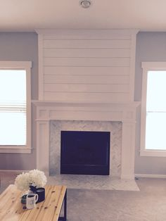4 Amazing Useful Tips: Fireplace Cover Pools large fireplace big windows.Shiplap Fireplace With Wood Mantle tv over fireplace components.Shiplap Fireplace With Wood Mantle. Fireplace Redo, Shiplap Fireplace, Farmhouse Fireplace, Fireplace Remodel, Fireplace Design, Fireplace Mantels, Fireplace Ideas, Modern Fireplaces, Black Fireplace