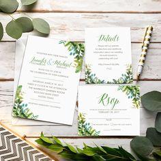 Greenery Wedding Invitation set from PartyMonkey on Etsy-----> https://www.etsy.com/partymonkey/listing/502630731/greenery-wedding-invitation-set-with https://www.etsy.com