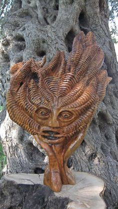 Olive wood Carved wood sculpture by artist Eric Kempson titled: 'The Green Man (Traditional Olive Wood Carving)' Wood Sculpture, Wall Sculptures, Sculpture Garden, Abstract Sculpture, Grey Wood Furniture, Carved Wood Wall Art, Wood Art, Hand Carved, Old Wood Floors