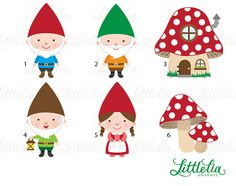 Gnome clipart woodland clipart 15023 by LittleLiaGraphic on Etsy