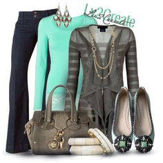 """Love gray w mint green """"Jeans & Green Contest"""" by lv2create on Polyvore"""