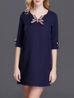 #AdoreWe #JustFashionNow Cute Dresses - Designer qiyan Navy Blue Pockets Appliqued Half Sleeve Dress - AdoreWe.com