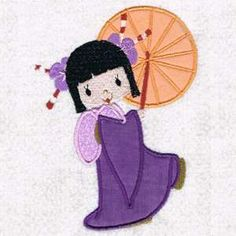 This free embroidery design is an applique geisha.