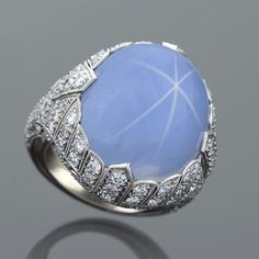 Art Deco 27.50 carat Star Sapphire and Diamond and Ring.   Available exclusively at Macklowe Gallery.