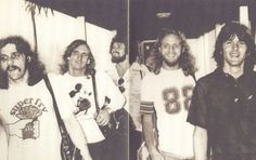 Eagles walkin' down the hall, c. 1976. | gotta love Glenn's shirt.