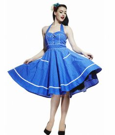 HELL BUNNY 50's VANDA polka dot DRESS BLUE