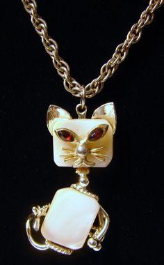 Art Deco Style Cat Vintage Cat Necklace by NopalitoVintageMore