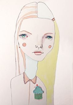 The Girl with the Cupcake for a Heart Print   by Darcy Allan, via Etsy.