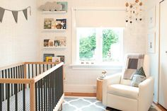 WINTER*DAISY interiors for children. Neutral and modern nursery for Xavier featuring the Grano Glider Recliner by Monte Design.