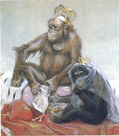 František Kupka: The Monkey King: The Royal Couple, 1900, Watercolor and gouache on paper, 59×52 cm, National Gallery, Prague
