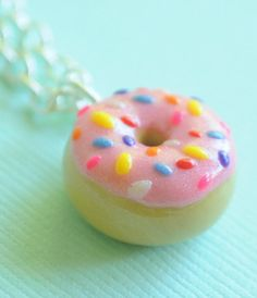 Food Miniature Donut Doughnut Necklace Sprinkles Icing Polymer Clay Food Jewelry on Etsy, $15.00