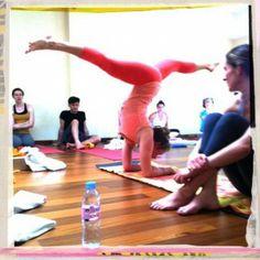 Hanumanasana (splits) in Pincha Mayurasana (forearm balance) by Kathryn Budig. I want to be able to do this.