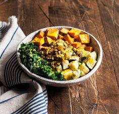 Sweet Potato Bowls with Savory Granola Greens and Zucchini | The Full Helping