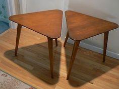 PAIR OF LOVELY TEAK TRIANGULAR MID CENTURY MODERN SIDE TABLES