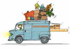 Design Moving Announcement/ Verhuiskaart by Anet van der Vorst www.kaartje2go.nl / déménagement