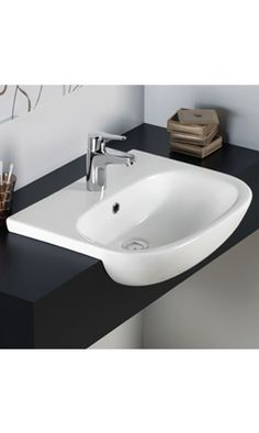 tonique Semi Recessed Basin with 1 Tap Hole From RAK Ceramics. Bathroom Designs India, Semi Recessed Basin, Alpine White, Basin Mixer Taps, Small Bathrooms, Sink, House Ideas, Ceramics