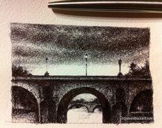 "La Seine, 2013 Ballpoint on paper 3""x2"" SOLD Ballpoint Pen Drawing, Small Drawings, Paper, Pen Drawings, Small Paintings"